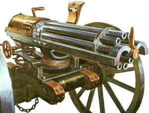 La mitrailleuse à canons rotatifs inventée par richard gatling en