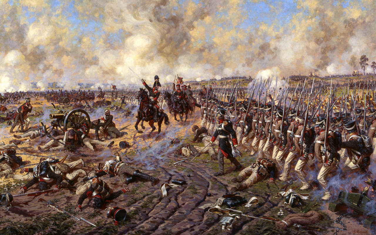 Le prince Bagration mène l'assaut d'une unité d'infanterie russe à ...: carlpepin.com/2010/10/17/les-campagnes-napoleoniennes-1803-1815